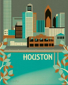 "'Houston"" print by loosepetals on etsy. I adore all the city skyline prints in her shop. So. Pretty!"