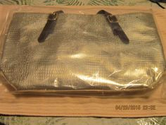 "Large Gold Vinyl Carry-All Handbag/Purse Tote - 16"" X 10"" X 4"" #Beauticontrol #ShoulderBag"