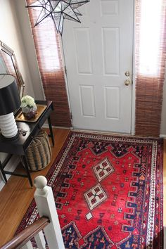 Persian rug, small entryway  drd: dayka robinson designs