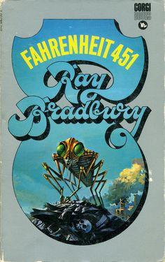 Fahrenheit 451 by Ray Bradbury. Corgi Books, Cover by Bruce Pennington. Science Fiction Authors, Fiction Novels, Harry Harrison, Fahrenheit 451, Best Book Covers, Sci Fi Books, Comic Books, Cover Art, Good Books