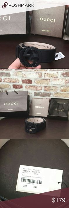 NWT Authentic Gucci Men's Black shiny Belt This is a New 100% Authentic Gucci Black Signature  Belt size 100cm. Fits a wist size 34-36 in paints or jeans. Has a Black & silver belt buckle. Comes with a dust bag original tags attached and Gucci box. Ships out ASAP within 24 hours very fast shipping Please Message me for more other sizes thank you!!! Gucci Accessories Belts