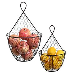 MyGift (Set of Wall Mounted Brown Country Rustic Style Chicken Wire Metal Baskets/Hanging Display Holders Tiered Fruit Basket, Hanging Fruit Baskets, Metal Baskets, Storage Baskets, Food Storage, Country Farmhouse Decor, Modern Farmhouse Kitchens, Farmhouse Kitchen Decor, Small Kitchens