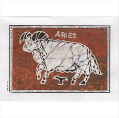 Zodiac card Aries star sign astrology astrolgical batik handmade hand crafted Listing in the Greeting Cards,Birthday,Occasions & Seasonal Category on eBid United Kingdom