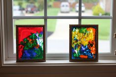 Play At Home Mom LLC: Rainy Day Play. Puffy paint (recipe included) on glass picture frames. Looks like stained glass