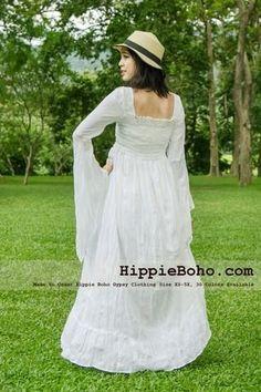 80a929a81d3 Size Hippie Boho Gypsy Bohemian Bell Wide Sleeve White Maxi Dress Plus Size  Women s Long DressProduct description Material   Gauze Cotton Length    Lining ...