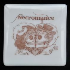 Fused Glass Coaster - Dia De Muertos 02 – Day Of The Dead – £7 each or £24 for a set of 4. Original drawings by Jiewsurreal (stock photos). All coasters measure approximately 10 x 10cm, with clear rubber bumpers on the base to keep them in place and protect your furniture. www.glassbygenea.co.uk #glassbygenea #fusedglass