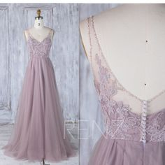 Dark Mauve Tulle Bridesmaid Dress With TrainV Bead Neckline