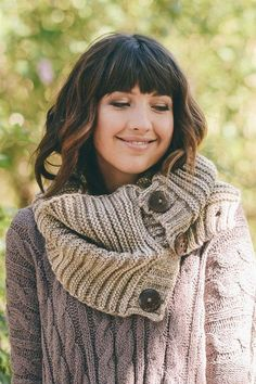 Button Accent Infinity Scarf (Several Colors)