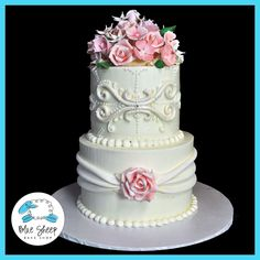 spring floral buttercream wedding cake with sugar flowers
