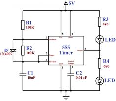 ‪#‎555Timer‬ circuit is an integrated circuit (chip) used in a variety of timer, pulse generation, and oscillator applications.