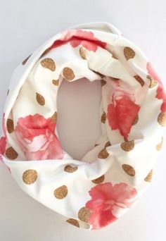 *pre-sale* Buttercream Organic Scarf – gold dots and peonies (ships in 2 to 4 weeks)