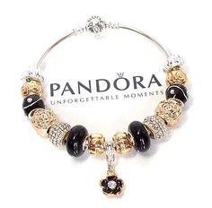 $135 Authentic Pandora Silver Bangle Charm Bracelet Flowers Black Gold Pave Crystal #Pandora #TraditionalEuropean