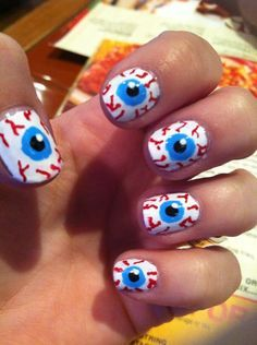 eyeball, halloween nail design