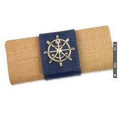 Sealife Medallion Straw Clutch - Navy | VIA #WEDDINGPINS.NET