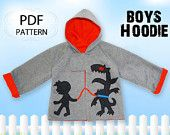 Boys sewing pattern, PDF, boys jacket coat hoodie, Kids childrens sewing pattern, Easy beginner, MONSTER HOODIE. $7.50, via Etsy.