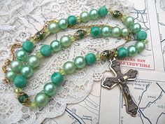 cross necklace religious assemblage eco friendly green upcycle recycle VESTAL  Ask a question $15.00 USD. USA