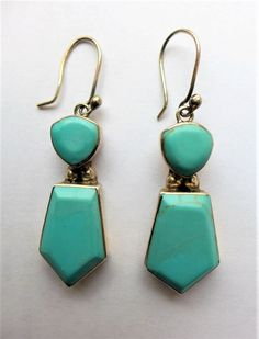 Blue Turquoise Sterling Silver Earrings Pierced Mexico Vintage 1950 Sign MOB E10 #Dangle
