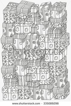 Pattern For Coloring Book A4 Size Pile Of Holiday Gifts