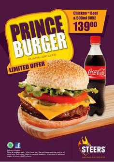 STEERS - Saucy & Juicy Prince Burger Menu Items, Grilling, Prince, Yummy Food, Cooking, Ethnic Recipes, Kitchen, Delicious Food, Crickets