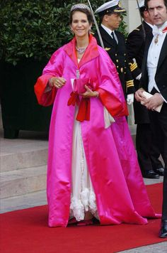 Infanta Elena, pink!  Denmark for the wedding of Frederick and Mary
