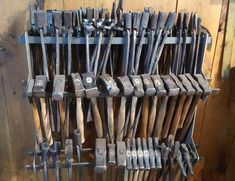The quickest and easiest way to get your shop organized! The Tong and Hammer Rack comes standard with two pieces (a left and a right). It has three levels for h Blacksmith Hammer, Blacksmith Shop, Metal Working Tools, Old Tools, Welding Shop, Tool Room, Wood Router, Wood Lathe, Cnc Router