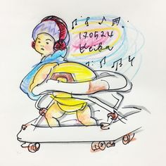 【Around midnight】 #love #music #boy #baby #drawing #illustration #1yearold #nomusicnolife #赤ちゃん #おえかき #イラスト #1歳 #新米ママ #music #音楽 #ヘッドホン