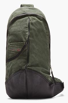 Diesel Olive Green And Black Cross-body Backpack for men   SSENSE