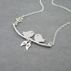 Birds on a Branch Necklace Two Initials by SweetBlueBirdJewelry, $31.00