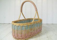 Petite Pastel Wicker TriColor Basket  Vintage Hand by DivineOrders, $14.00
