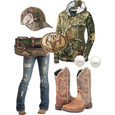 A fashion look from July 2013 featuring Justin boots and Reeds Jewelers earrings. Browse and shop related looks. Country Girl Outfits, Country Wear, Country Girl Style, Country Fashion, Country Girls, My Style, Country Life, Camo Outfits, Cowgirl Outfits