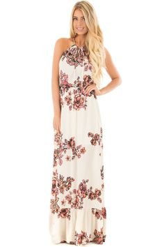 Lime Lush Boutique - Ivory Floral Maxi Dress with Halter Key Hole Detail, $54.99 (https://www.limelush.com/ivory-floral-maxi-dress-with-halter-key-hole-detail/)