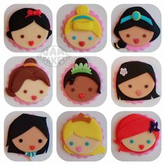 stylized disney princess fondant cupcake toppers featuring snow white, cinderella, jasmine, belle, tiana, mulan, pocahontas, sleeping beauty and ariel