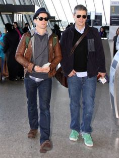 Celebrities catch flights out of Washington DC on January 22, 2013 after attending the Presidentional Inauguration. Pictured: Matt Bomer, Simon Halls