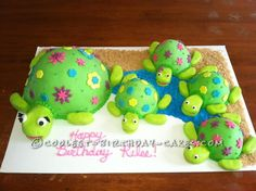 Coolest Sea Turtles Birthday Cake This cake has your name all over it! Turtle Birthday Parties, Turtle Party, Fancy Cakes, Cute Cakes, Cool Birthday Cakes, Diy Birthday, Birthday Ideas, Birthday Gifts, Foundant
