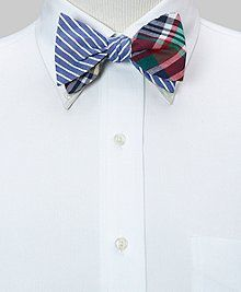 The Social Primer for Brooks Brothers Reversible Bow Tie: Oxford Sidewheeler Stripe and Camouflage
