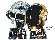 daft punk Ilustraciónes: Daft Punk por Heyo Lee