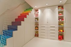 25 Awesome Rainbow Colors Interior design Ideas Decoration Interior Well Liked Kids Basement Playroom Ideas With Rainbow Step Stairs As Well As Cha Playroom Storage, Playroom Design, Kids Room Design, Wall Storage, Playroom Ideas, Toy Storage, Playroom Layout, Playroom Colors, Playroom Paint