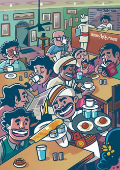 Indian Coffee House -Chronicles over a coffee:This is one of my personal illustration projects, where I wanted to capture the colloquial feel and the ambiance of the place.' India Coffee House ' has its own charm when it comes to its retro interiors, a… Indian Illustration, Graphic Design Illustration, Car Illustration, Doodle Art Drawing, Art Drawings, Funny Drawings, Disney Tapete, Bengali Art, Whatsapp Wallpaper