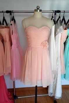 Peach Short Bridesmaid Dress, Cheap Bridesmaid Dresses, A-line sweetheart Chiffon Bridesmaid Dress