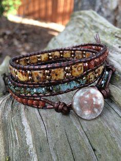 Beaded Leather Wrap Bracelet. Chestnut by SilveryBeachDesigns