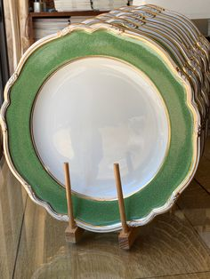 Green Dinner Plates, Green Plates, Cream Dinnerware, China Platter, Green China, Green Cabinets, Table Set Up, China Sets, White Trim