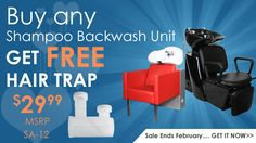 Buy any Shampoo unit and get a FREE hair trap  ONLY at Salon CA>>> http://salonca.com/