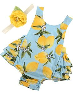 0e8e7eda59172 PrinceSasa Baby Girl Clothes Yellow Lemon Floral Ruffles Summer Cake Smash  Dress and Headband for Newborn Months(Size L) - Maternity And Baby Care