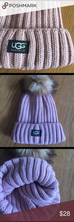 Dusty pink ribbed UGG hat.  Cute pink hat with Pom Pom, rubbed and cute! UGG Accessories Hats