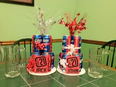 Beer cakes and mugs for the twins' 21st Birthday!