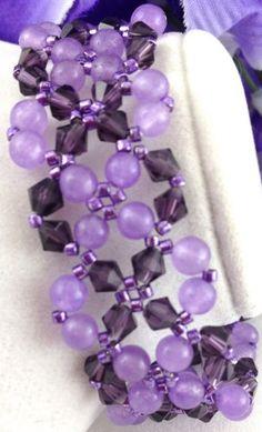 Lavender Amethyst Purple Swarovski Lace Handmade Woven Beaded Bracelet | jazzitupwithdesignsbynancy - Jewelry on ArtFire @tntonelli #bmecountdown