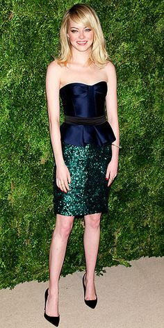 Emma Stone - navy and forest green