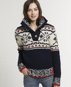 New Womens Superdry Hipster Henley Top Navy Girlie Style, My Style, Women's Henley, Knitwear Fashion, Superdry, Cardigans For Women, Pulls, Fashion 2020, Knit Dress