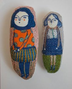 Nice dolls lovely vintage child illustration screenprints on these arty plushie dolls
