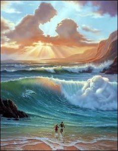 Vladimir Kush: Awesome painting couples up in haven Vladimir Kush, No Wave, Fantasy Kunst, Fantasy Art, Angel Clouds, Wow Art, Surreal Art, Optical Illusions, Amazing Art